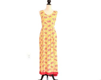April Cornell Dress - 90s Boho Floral Maxi Dress - April Cornell Rayon Daisy Dress - Boho Flower Maxi Dress - Sunshine Yellow Long Dress