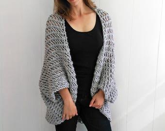 Easy Sweater PATTERN, Shrug Pattern, Beginner Sweater Knit Pattern, Cardigan Pattern, Blanket Sweater Pattern, Cardigan Pattern, THE COCOON