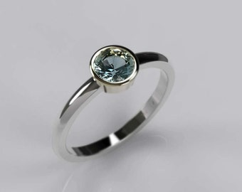 Aquamarine, Silver & Gold Engagement/Everyday Ring