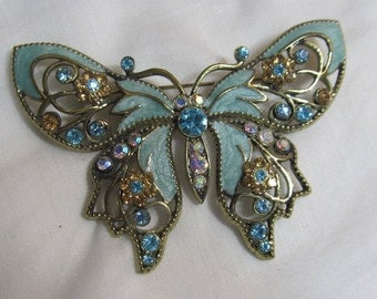 Beautiful Butterfly Brooch; large Avon swirled enamel and rhinestone pin; intricate design; 1990's