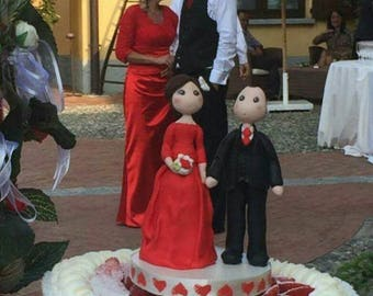 Wedding cake topper in red