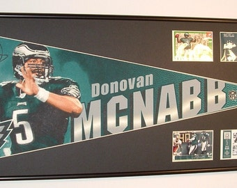 Philadelphia Eagles Donovan McNabb Pennant Framed..with football cards...Custom Framed!!!..