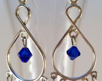 Navy and crystal dangle earrings