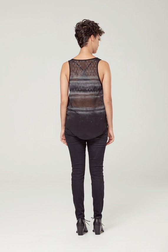 SOLSTICE D'ÉTÉ - minimalist top with sheer back - see-through back, camisole, cami - black with deconstructed sikscreen edgy and grunge look
