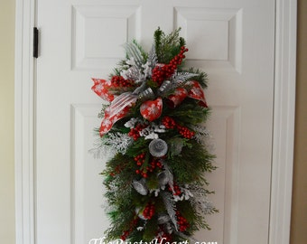 Christmas Door Swag with Silver Bells
