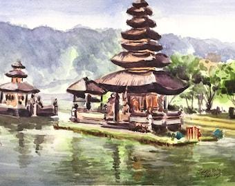 Bali Temple, Indonesia, Pura Ulun Danu, Bratan lake, Balinese art, Balinese temple painting, Watercolor painting, Indonesian Painting,