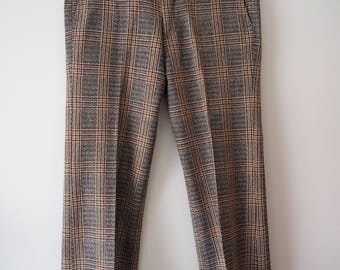 Men's prince of wales tweed check trousers mod skinhead M