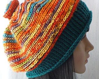 Original Beret/Big Hair Beret/Big Head Beret/Womens Head Accessories/ Winter Beret/Colorful Beret/Crochet Beret/Handmade Beret/Rainbow
