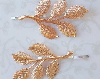 Rose Gold Leaf Bobby Pin Set of 2, Hair Pins, Woodland Rustic Nature Leaves Wedding Hair Bridal Party Bridesmaids, Boho, Garden