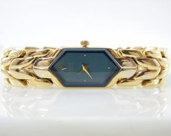 Vintage Elegant Womens Gold Citizen Elegance Blue Dial Quartz Watch