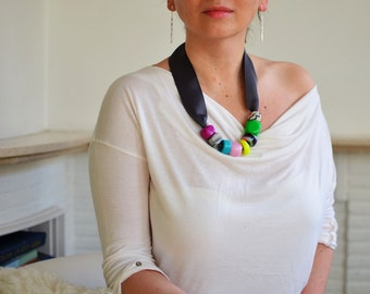 Modern statement necklace, textile necklace, bib necklace, unique bead necklace, ribbon necklace, women s accessories, one of a kind jewel