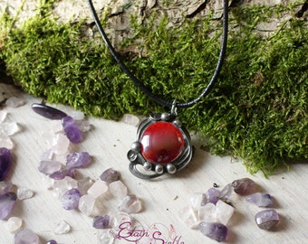Pewter pendant jewel red glass ball elven fairy pewter color old money new art