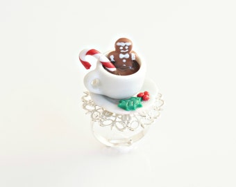 Gingerbread Boy and Coffee Ring, Gingerbread Cookie, Gingerbread Man Ring, Miniature Food Jewelry, Christmas Jewelry, Cup Ring, Candy Cane