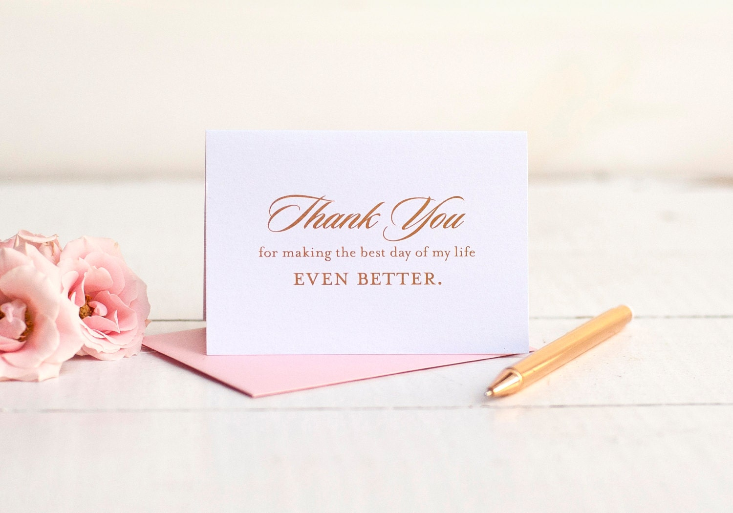 Thank You Note Wedding Gift: Wedding Thank You Card With Rose Gold Foil Wedding Note Cards