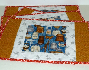 Kitchen Place Mats, Farmhouse set of 4 Cotton Quilted Placemats, Washable Absorbent Table Mats, Bright color fabric, Farmer Country decor