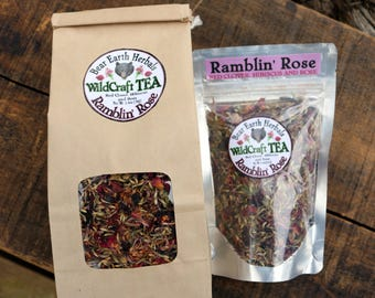 Red Clover Loose Leaf Tea, Herbal Ramblin' Rose Tea with Organic Hibiscus, Rose Petals and Wild Harvested Red Clover, Herbal Tea, Tisane