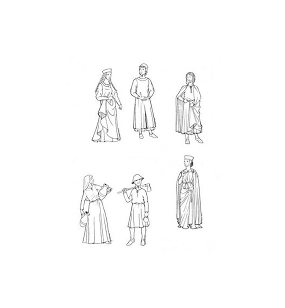 LF1314- 1240 - 1320 People of Medieval Gothic Period Sewing Pattern ...
