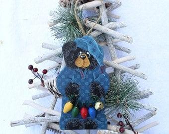 Black Bear Ornament 17BNB- Christmas Ornaments - Bear Decorations - Whimsical Animal Art - Decorative Painting - Tree Decor - Wood Ornaments