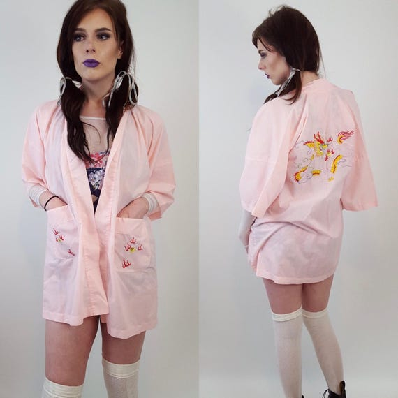 Vintage Embroidered Pink Kimono Small - Pastel Grunge Retro Style - Baby Pink Embroidery Multicolor Dragon Back Short Robe with Waist Sash