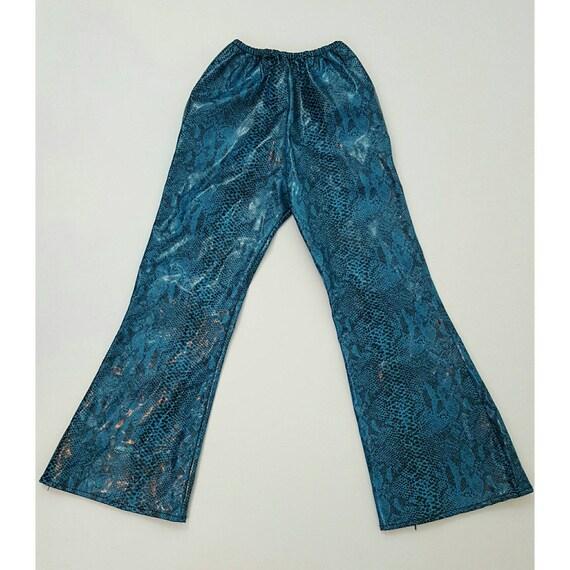 90s KIDS Children's Vinyl Snakeskin Pants - Rare 1990s Fake Vegan Leather Pleather Flare Pants - Little Girls Small Bratz Doll Flares