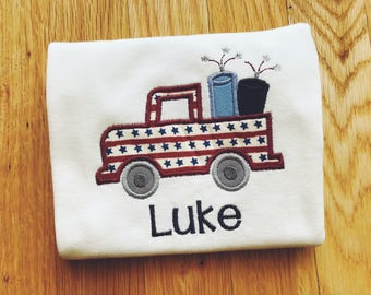 Boy's 4th of July Truck Shirt, Children's Personalized Outfit, USA Tee, America Top, Kid's Patriotic T-Shirt, Toddler Top, Embroidered Name