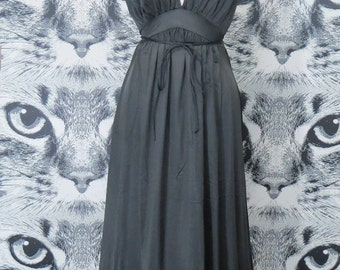 60s Black Nightie with Tie Waist / L