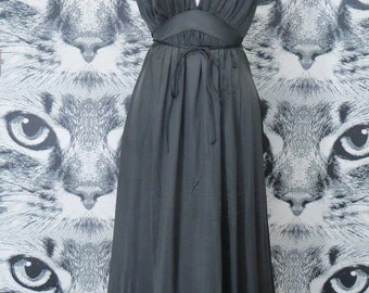 60s Black Nightie with Tie Waist / L