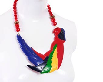 Vintage Parrot Statement Necklace Huge Chunky Colorful Novelty Retro OOAK 1990's Jewelry