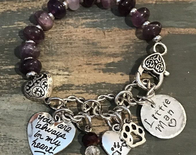 Rainbow Bridge Memorial pet loss natural amethyst charm bracelet personalized