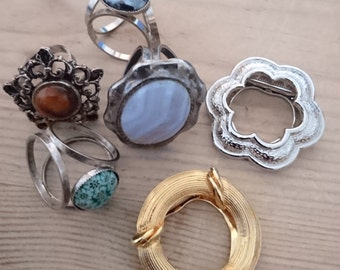 Vintage collection of six scarf clips