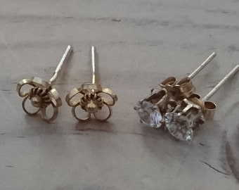 Two pairs of vintage 9ct gold stud earrings