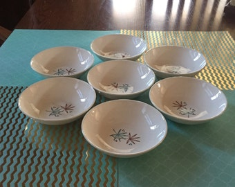 Free Shipping Stetson Hand Decorated China Vintage Mid-century 7 Small Sauce Bowls Dinnerware Turquoise and Brown Pattern
