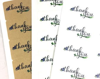 Watercolor Thank You Labels / Watercolor Packaging Stickers / Floral Thank You Label / Business Wedding Professional Thank You Sticker