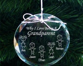 SHIPS FAST, Grandparent Christmas Ornament, Grandma Gift, Grandparent Gift, Grandpa Gift, Personalized Grandma Ornament, Christmas, COR004