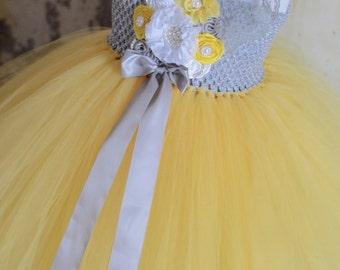 Vintage Grey and Yellow Flower Girl Tutu Dress