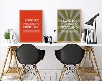 Edinburgh, Edinburgh print, Edinburgh city poster, Edinburgh art print, Love Edinburgh, Edinburgh print, travel poster