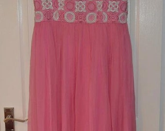 SALE 1960 Pink Maxi Party Dress