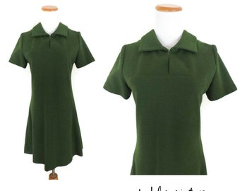 60s Mod Dress Forest Green Mini Shift 1960s Shirtdress Go Go Style Drop Waist Size Wool Blend