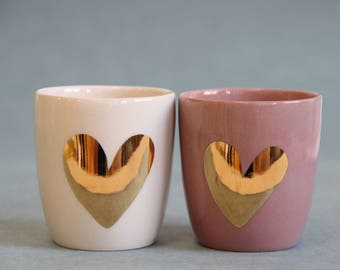 gold heart espresso set / unique wedding gift / engagement gift / gold heart cups / gold wedding gift