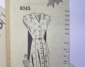 Vintage 1940s Mail Order 8045 Button-Front FROCK pattern  sz 16 bust 34 UNUSED