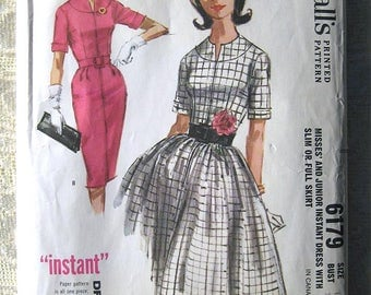 """Vintage 60s Instant Dress with Slim or Full Skirt. McCall's 6179 Sewing Pattern. Size 14 Bust 34"""""""