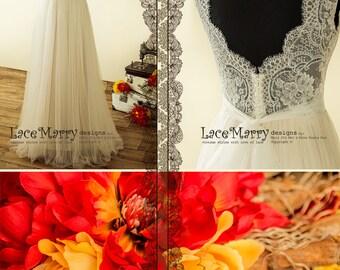 Beautiful Bohemian Wedding Dress with Sheer V Cut Back | Boho Wedding Dress, Wedding Dress, A Line Wedding Dress, Backless Wedding Dress