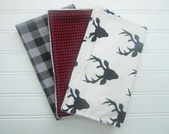 Baby Boy Burp Cloth Set; Set of 3 Burp Cloths-Minky Burp Cloths-Deer Burp Cloth