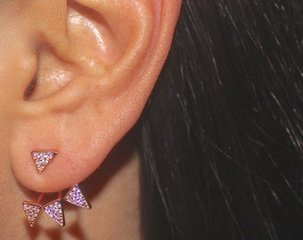PAIR - THREE FINISHES Rose Gold Vermeil Sterling Silver Triangle Spike Ear Jackets