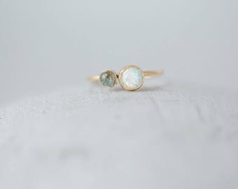 Double Stone Ring, White Opal with Tourmaline