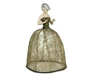 Antique French Porcelain Half Doll Boudoir Lamp Shade by Henri Delcourt.
