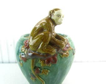 Antique Majolica Vase, majolica bowl,Monkey Vase, Ceramic, vintage Majolica, Victorian  bowl, ceramic monkey, antique bowl