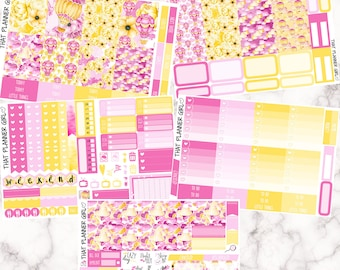 Pink Balloons, Yellow Flowers Kit - VERTICAL weekly kit - Erin Condren Planner Stickers - inc. full boxes, 1/2 boxes, checklists etc!
