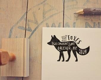 "Fox Return Address Stamp - Whimsical Custom Rustic Rubber Stamp Gift - Stamp - Woodland Animal Stamp for Wedding Invitations - 2.5"" x 1.5"""
