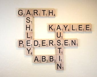 "Large Scrabble Tiles - 3.5"" Large Scrabble Letters  - Scrabble Wall Art - Personalized Wood Scrabble Letters - Giant Scrabble Letters - LST"
